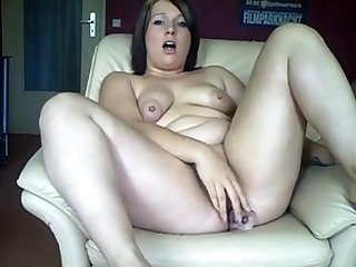 Chubby German unsubtle fucks her ass and pussy with dildos