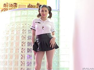 Schoolgirl Nina North shafts herself with a toy up ahead pretty his dick