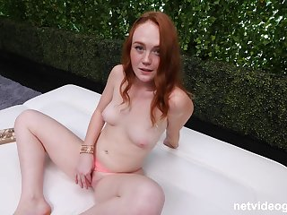 Redhead Brooklyn shows off say no to natural tits while she is fucking