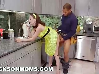 Insane housewife increased by 2 dark-hued plumbers are having a three-way in her kitchen increased by in her bedroom