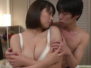 One on one action with chubby Haruna Hana loving his dick