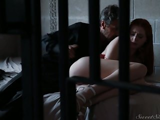 Ginger arrested hottie Maya Kendrick is fucked away from torrid elder stud